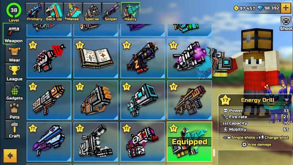 pixel gun 3d gems coins weapons